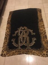 "Auth Roberto Cavalli long scarf 100% Silk Leopard  Logo Italy Made 25.25""x68"""