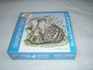 """NEW SEALED BITS & PIECES 750 PIECE SHAPED JIGSAW PUZZLE """"MAGGIE & KITTENS"""""""