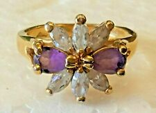 Faux Amethyst gold plate siver size 6 ring ( A )