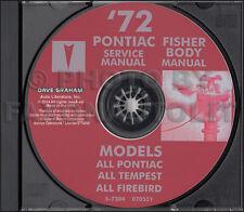 1972 Pontiac Shop and Body Manual CD Tempest GTO LeMans Grand Prix Bonneville