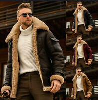 Men's RAF B3 Pilot Winter Fur Lapel Collar Shearling Sheep Leather Bomber Jacket