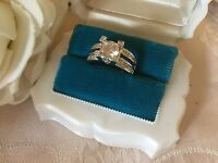 Antique Art Deco Vintage Gold Ring with Sapphire White and Blue Stones size 6