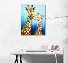 Love Giraffe Cartoon Poster Home Room Wall Decor Art Painting Print On Canvas