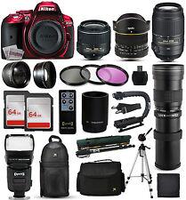 Nikon D5300 Red DSLR Camera + 18-55mm VR II + 55-300mm vr + 420-800mm + 128GB