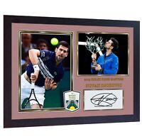 Novak Djokovic signed autographed photo print Paris Masters 2019 Framed