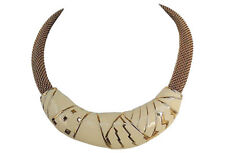 Vintage 1980s Signed Monet Modernist White Enamel Necklace