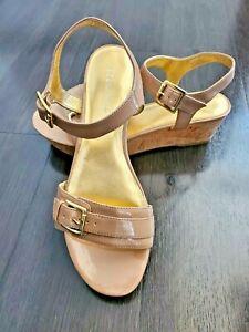 BCBGeneration Size 9.5M Lipstick Natural Ankle Strap Cork Platform Sandal