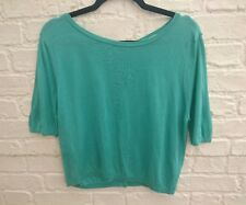 Orla Kiely Seagreen / Turquoise 100% Silk Knitted Top Size UK 12 | Back Button