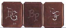 3 Monogrammschablonen Kupfer ungebraucht Schönschrift Kreuzstich 2 x BP 1 x BG