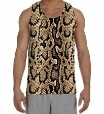 Snake Skin Print Men's All Over Vest Tank Top - Animals Party Festival Rock