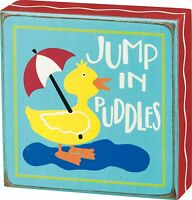 "JUMP IN PUDDLES Yellow Duck Wooden Box Sign 5"" x 5"", Primitives by Kathy"