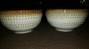Pfaltzgraff Celina Pattern Shades of Brown 2 Cereal Soup Bowls Raised Dots