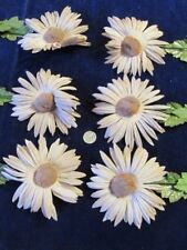 "Vtg Shabby Millinery Flower Collection Brown 4"" Daisy w/Yellow Pom Center H2362"