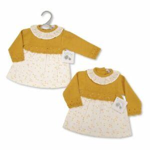 My Little Chick Baby Girls Knitted Dress - Mustard/Off white BNWT