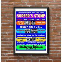Surfer Stomp Concert Poster -California Surf Bands Surfaris Jan & Dean Dick Dale