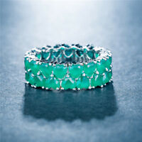 Gorgeous Women Heart Shaped Emerald 925 Silver Jewelry Wedding Ring Size 6-10