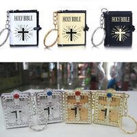 Mini English Holy Bible Religious Christian Jesus Keychain Key Ring Keyfob EDC