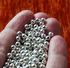 100 Silver Metallic Pearl Beads for Bracelets 4mm Round Acrylic Beading Supplies