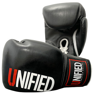 Unified Pro Standard Lace Up Boxing Gloves Cow-Hide Leather Sparring Training