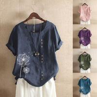 AU 10-24 Women Summer Plus Size Tee T Shirt Top Printed Vintage Floral Blouse