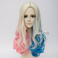 Blue Pink Mixed Blonde Long Curly Hair Anime Cosplay Wig for Harley Quinn