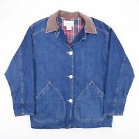 Vintage GREAT LAND Check Lined Casual Blue Chore Denim Jacket Mens Size Small