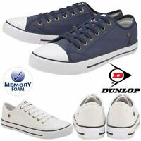 Dunlop Mens Lace Up Trainers Canvas Plimsoll Pumps Memory Foam Retro Shoes Sizes