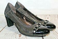 AGL ATTILIO GIUSTI LEOMBRUNI Ballet Pumps Metallic Gold Heels Sz 36.5/6.5 Italy