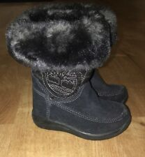 ❤️Baby Girl Black Timberland Fur Boots Suede 4