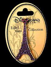 💜 Disney Collector Eiffel Tower Disneyland Paris Purple Rhinestone Crystals Pin