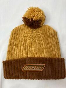 Burton Unisex Vintage Yellow Brown Snowboard Pom Pom Old School 90s Beanie OS