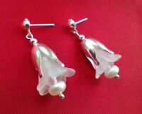 CUTE BRIDESMAIDs STUD EARRINGS with Pearls and White FLOWERS Made in UK FREE P&P
