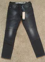 HYDRAULIC Black Stretch Jeans Bailey Super Skinny fray Low-Rise Size 3/4