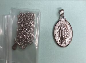 Sterling Silver Oval Virgin Mary Necklace Pendant and Chain RRP £19