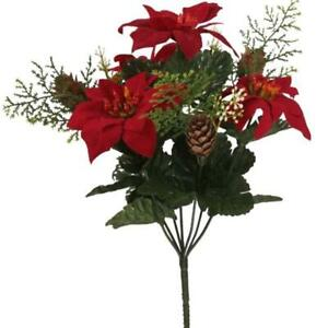 39cm Artificial Red Poinsettia Carnation & Pine Cone Flower bush Christmas Home