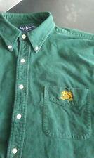 Vtg Ralph Lauren Double Lion Crest Long Sleeve Green Cotton Button Front Shirt