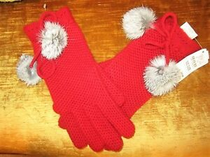 NWT $80 NEIMAN MARCUS GARNET RED 100% CASHMERE GENUINE RABBIT FUR POMPOM GLOVES
