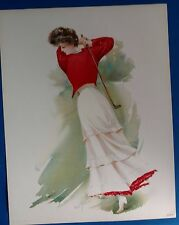 Antique MAUD STUMM LITHOGRAPH VICTORIAN LADY GOLFING golf club golf ball woman