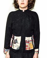 Citron Santa Monica 2 Piece Blouse & Pants outfit 100% Silk Black Floral Sz Med