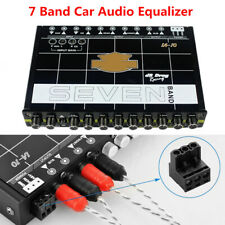 7 Band Car Sound Graphic Audio Equalizer EQ with Front Rear + Sub Output Aux-in