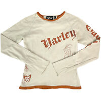 Harley Davidson Womens Long Sleeve Brown Beige Cut Out Tee T-Shirt Top Size S