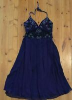 Mr K Size 10 Silk Beaded Dress Halter Neck Formal
