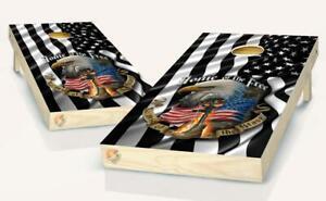Black & White American Flag Patriotic Cornhole Board Vinyl Wrap Laminated Decal