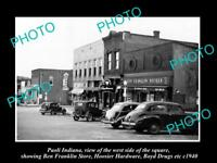 OLD LARGE HISTORIC PHOTO OF PAOLI INDIANA, VIEW OF THE MAIN STREET & STORES 1940