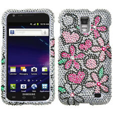 AT&T SAMSUNG GALAXY S2 SKYROCKET RHINESTONE HARD CASE COLORFUL FLOWERS