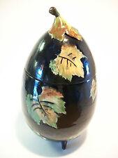 Vintage Majolica Lidded Jar - Eggplant Form - Hand Painted Leaves - 20th Century