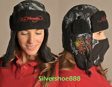 NWT ED HARDY WOMENS BUTTERFLY & ROSES WINTER SKI HAT WITH REMOVABLE FACEMASK