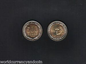 CHILE 500 PESOS KM-235 2000 DATE MILLENNIUM BI METAL UNC LATINO CURRENCY COIN