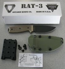 NEW Ontario RAT-3 RAT 3 8632 Fixed Blade 1095 Steel Knife & Tek-Lok Sheath USA