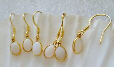 Solid AUST WHITE OPAL 7mm Oval  EARRINGS 14kt GOLD filled 925